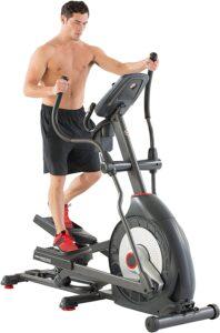 An athlete is exercising on the Schwinn 470 Elliptical