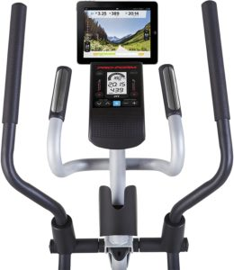 The handlebars and the console of the ProForm Hybrid Elliptical Trainer
