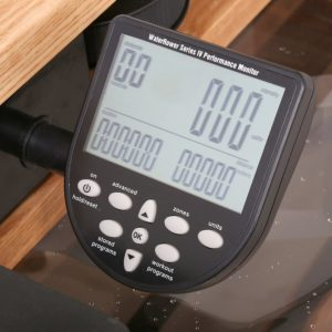 The console of the WaterRower Natural Rowing Machine with S4 Monitor