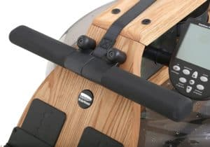 The handlebar of the WaterRower Natural Rowing Machine with S4 Monitor