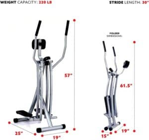 The folded and unfolded dimensions of the Sunny Health & Fitness SF-E902 Air Walk Trainer