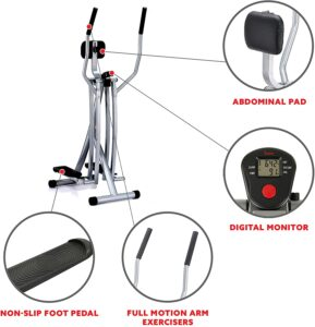 The console, the abdominal support pad, pedal, and the handlebars of the Sunny Health & Fitness SF-E902 Air Walk Trainer