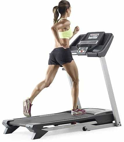 A lady is running on the ProForm ZT4 Treadmill