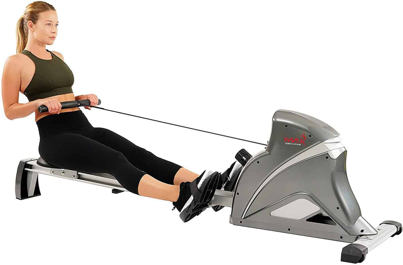 A lady exercising with the Sunny Health & Fitness SF-RW5508 Magnetic Rower