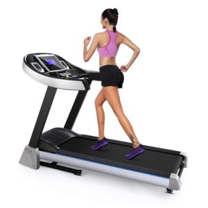 A lady athlete is running on the Ancheer S6100 Treadmill