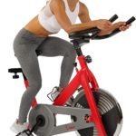 A lady is exercising with the Sunny Health and Fitness SF-B1001 Indoor Cycling Bike