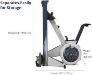 The folded Concept2 Model E Indoor Rowing Machine