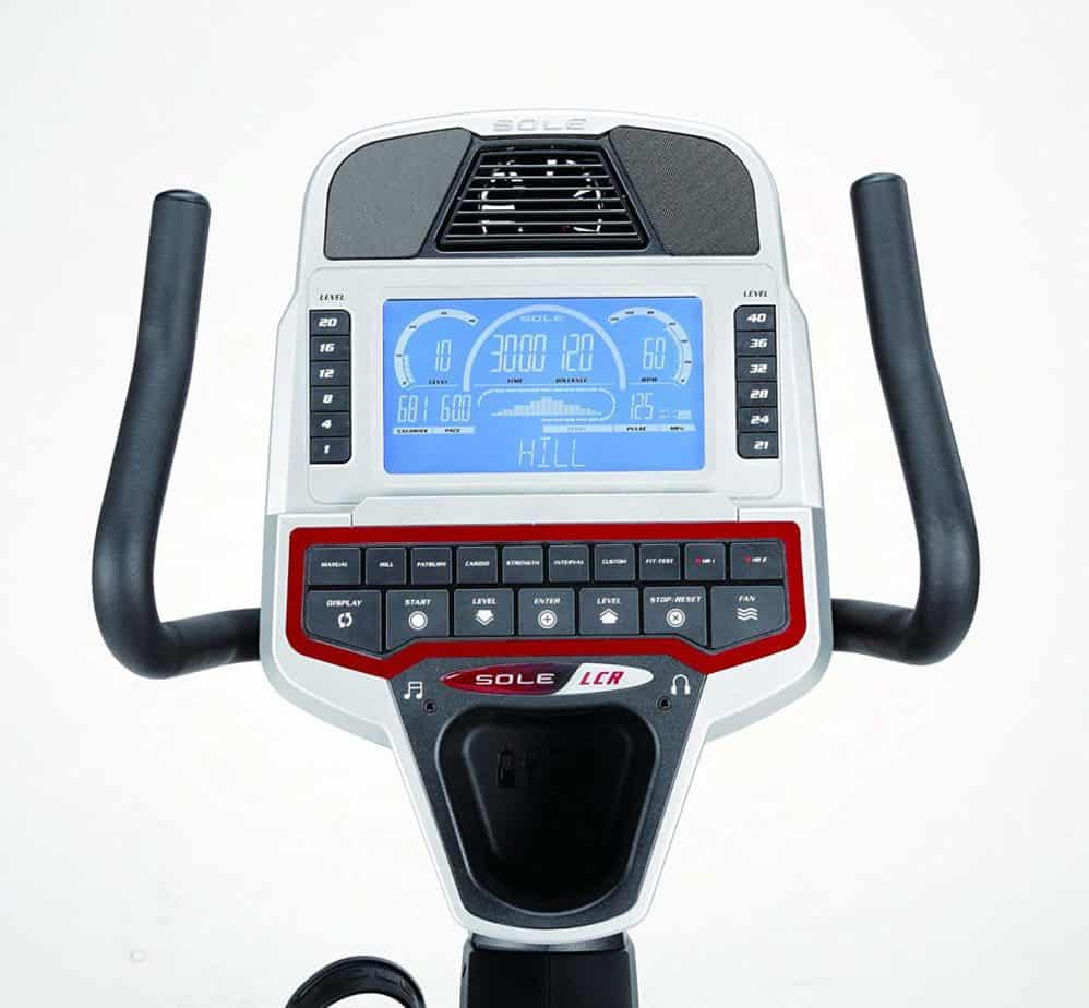 Console of the Sole Fitness LCR Light Commercial Recumbent Bike