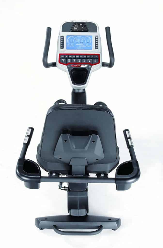 The handlebars  of the Sole Fitness LCR Light Commercial Recumbent Bike
