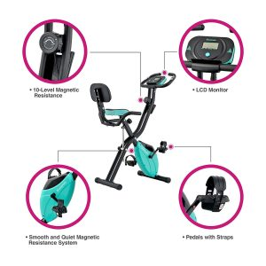 Harvil Foldable Magnetic Exercise Bike with 10-Level
