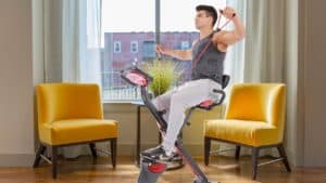 PLENY Upright Stationary Semi-Recumbent Exercise Bike with Arms Exercise Resistance Bands Review