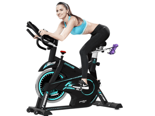 Pooboo Pro Indoor Belt Drive Exercise Bike with Dumbbells Model D770