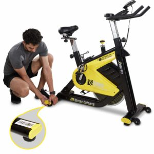 GS60 JOROTO Indoor Cycling Bike being adjusted by the user
