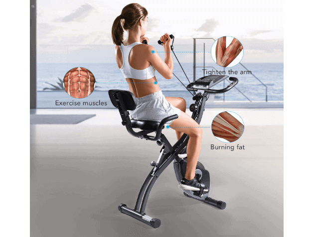 A girl exercising with the MaxKare Magnetic Folding Semi-Recumbent Bike