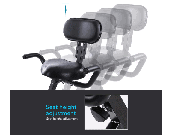 MaxKare Magnetic Folding Semi-Recumbent Bike's semi-recumbent seat