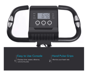 MaxKare Magnetic Folding Semi-Recumbent Bike's monitor and multi-grip handlebar