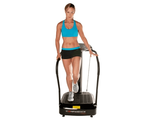 A lady working out on the Confidence Fitness Slim Full Body Vibration NHCFV-2000 Machine