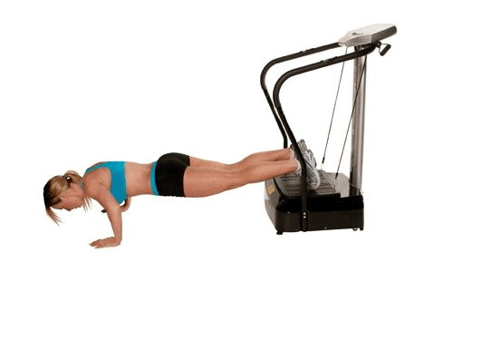 A lady doing push ups with her legs on the Confidence Fitness Slim Full Body Vibration NHCFV-2000 Machine