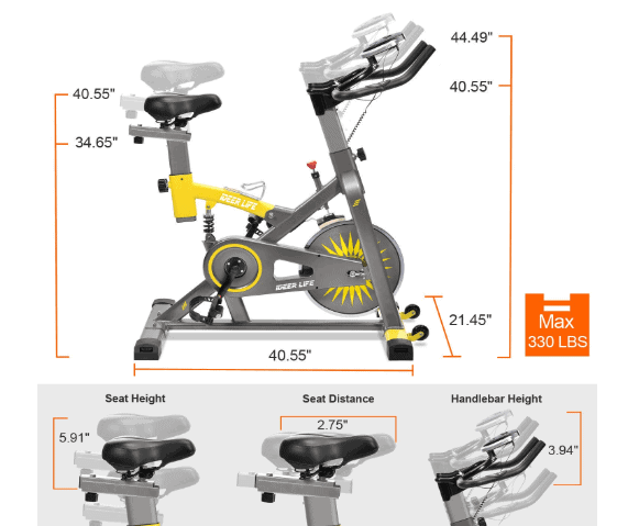 IDEER LIFE Exercise Bike Indoor Cycling Bike's handlebar and seat adjustment dislay