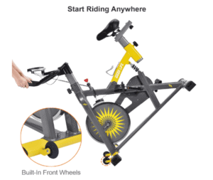 IDEER LIFE Exercise Bike Indoor Cycling Bike being rolled away for storage
