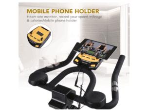 MaxKare Stationary Cycling Spin Bike's multi grip handlebar, tablet holder, LCD monitor and contact sensios