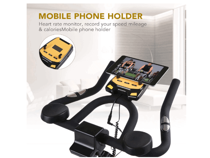 MaxKare Stationary Cycling Spin Bike's multi grip handlebar, tablet holder, LCD monitor and contact sensors