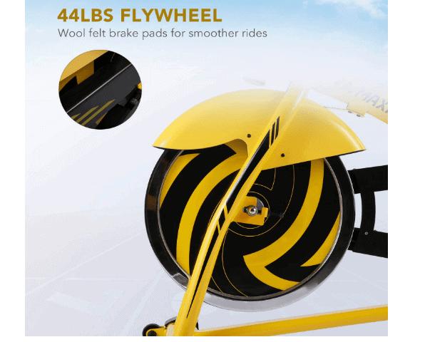 MaxKare Stationary Cycling Spin Bike's 44 pounds/20 kg chromed flywheel