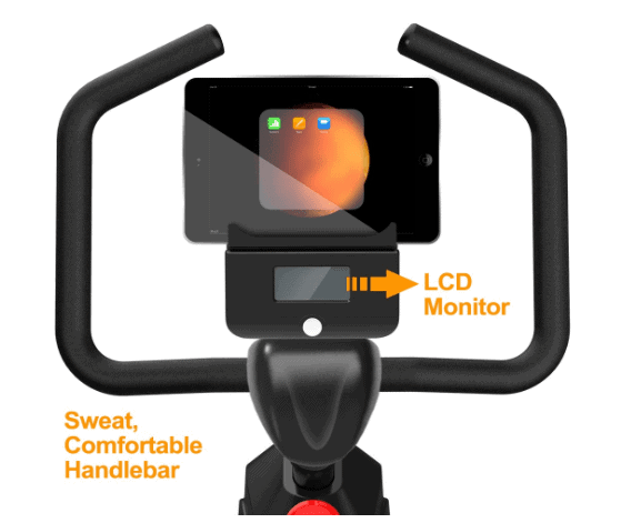 The handlebar, and the LCD monitor of the YOSUDA Indoor Exercise Cycling Bike L-007