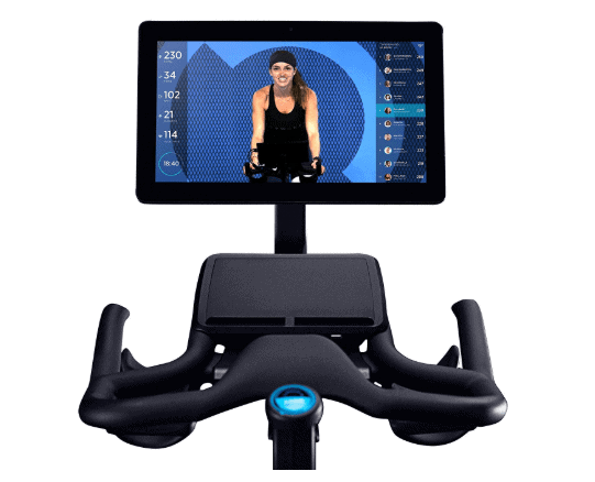 The handlebar and the built-in tablet of the Flywheel Home Exercise Bike