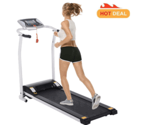 A lady is jogging on the Miageek Fitness Folding Electric Treadmill