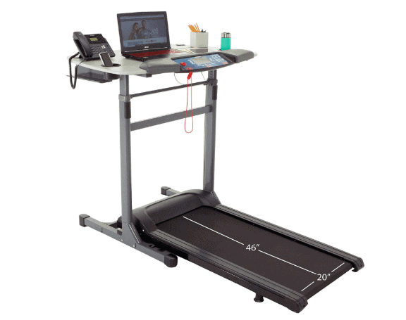 The fully assembled Exerpeutic 5000 ExerWork Desk Treadmill Model 7906