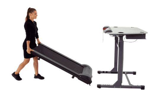 A lady rolling the Exerpeutic 5000 ExerWork Desk Treadmill Model 7906