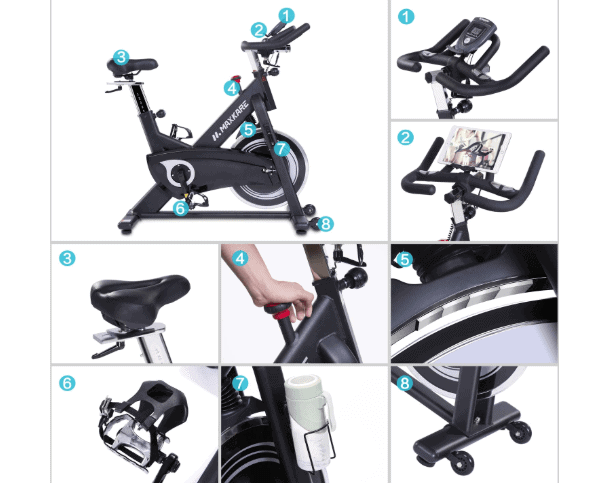 MaxKare Magnetic Indoor Cycling Bike handlebar, transport wheels, seat, tablet holder, resistance