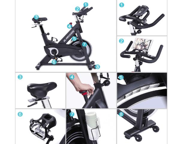 MaxKare Magnetic Indoor Cycling Bike handlebar, transport wheels, seat, tablet holder, resistance