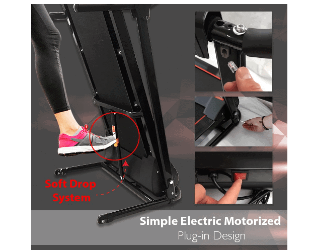 The folding and the Soft Drop system of the SereneLife Smart Digital Folding Electric Motorized Treadmill SLFTRD18