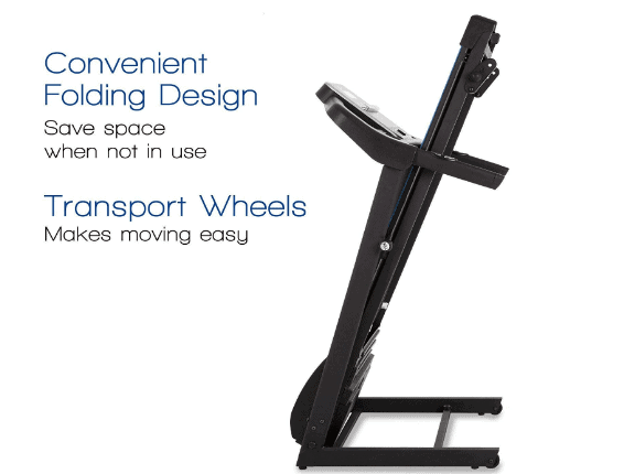 Folded XTERRA Fitness TR150 Folding Treadmill
