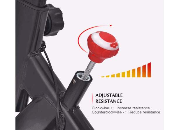 The resistance control knob of the Apelila Spinning Exercise Bike