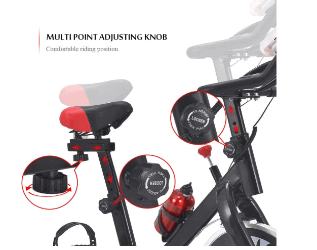 Seat and the handlebar adjustment demonstration of the Apelila Spinning Exercise Bike