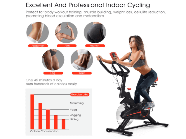 A lady riding the GOPLUS Indoor Cycling Bike V