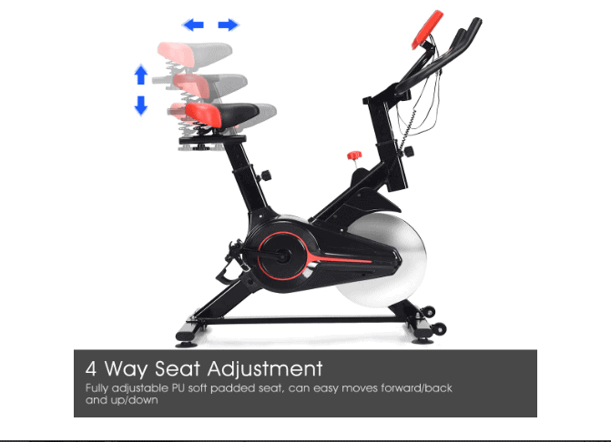 The seat adjustment of the GOPLUS Indoor Cycling Bike V