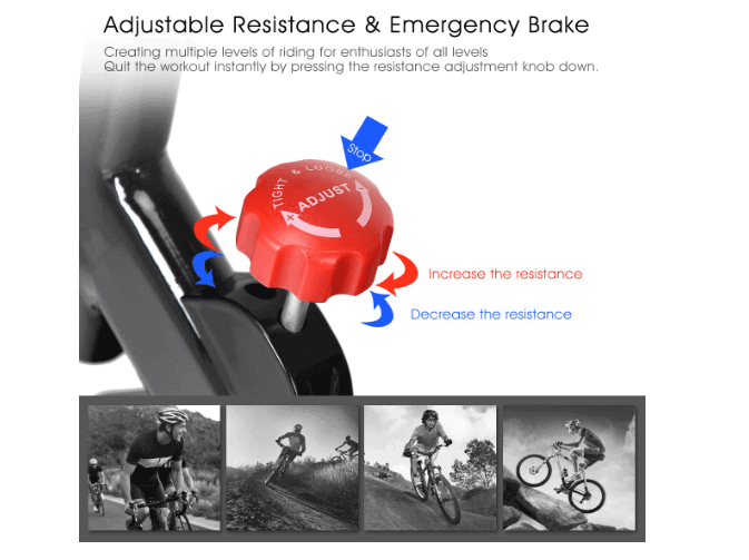 The resistance control tension knob of the GOPLUS Indoor Cycling Bike V