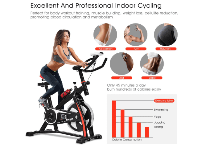 A lady riding the GOPLUS Indoor Cycling Bike II