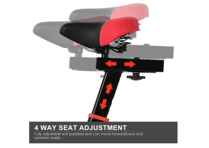 The adjustable seat of the GOPLUS Indoor Cycling Bike II