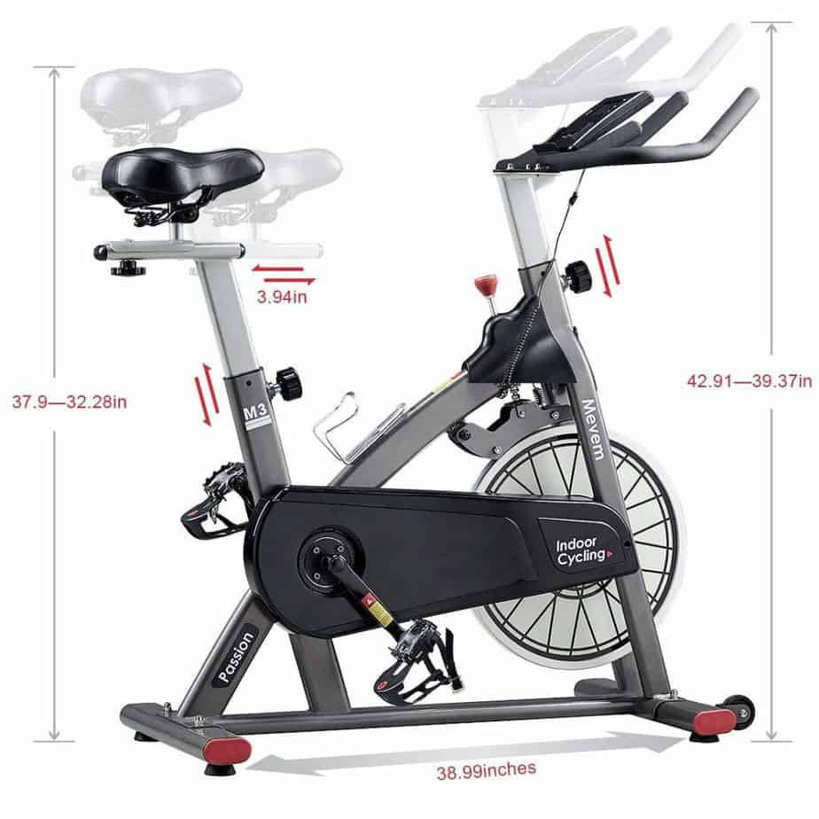 seat and handlebar adjustment of the MEVEM Magnetic Indoor Cycling Bike