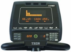 The console of the Cybex 750R Recumbent Bike