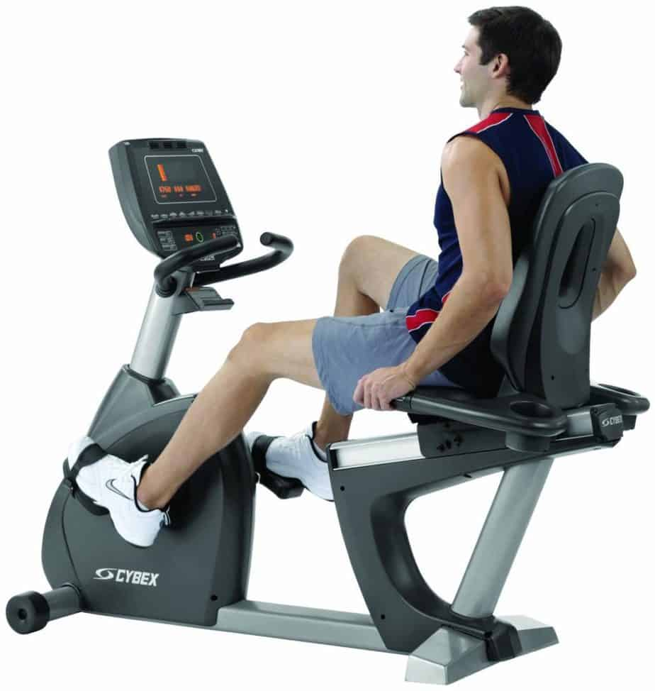 Cybex 750R Recumbent Bike is being ridden by a man