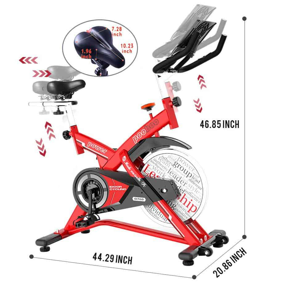 The adjustable seat and handlebar of the Pooboo L NOW Indoor Cycling Bike D760