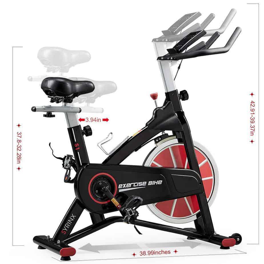 Adjustable seat and handlebar of the Syrinx Indoor Cycling Bike