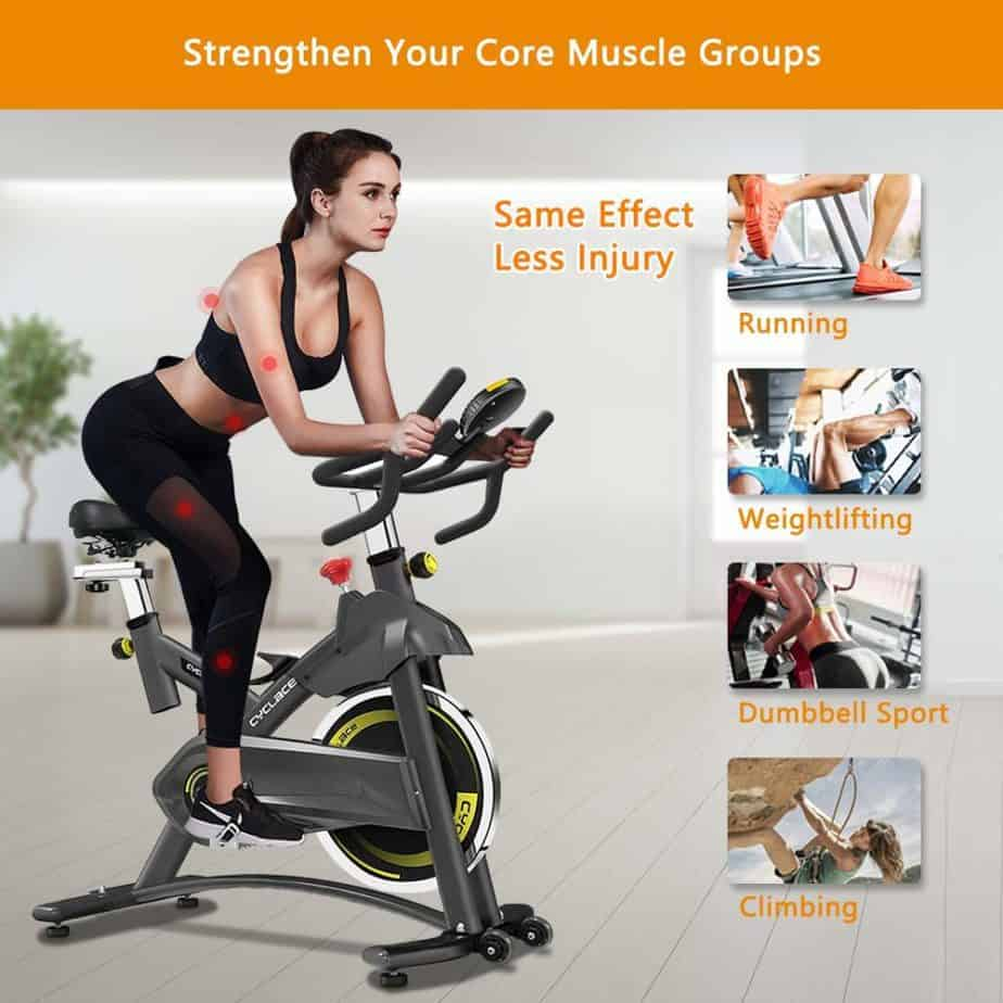 A lady exercising with the Cyclace Indoor Exercise Bike