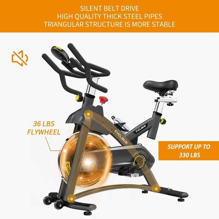 The drive of the Cyclace Indoor Exercise Bike